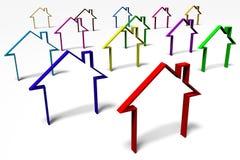 3D graphics, metaphors, real estate, housing problems Stock Photos