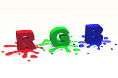 3D graphics, metaphors, RGB - letters, blots Stock Photography