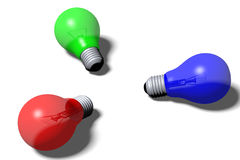 3D graphics, metaphors, RGB - lightbulbs. RGB colors - red, green, blue Stock Photo