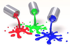 3D graphics, metaphors, RGB - paint cans, blots. RGB colors - red, green, blue Stock Image
