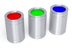 3D graphics, metaphors, RGB - paint cans. RGB colors - red, green, blue Stock Photos