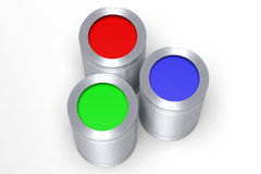 3D graphics, metaphors, RGB - paint cans. RGB colors - red, green, blue Royalty Free Stock Image