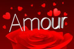 3D graphics, Valentine's Day, 14th February, hearts, Amour (french)... Royalty Free Stock Photo