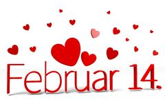 3D graphics, Valentine's Day, 14th February, hearts, Februar 14. (german)... Royalty Free Stock Photos