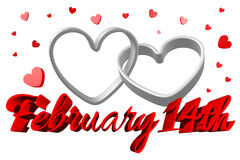 3D graphics, Valentine's Day, 14th February, hearts, Happy Valentines!... Royalty Free Stock Photos