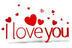 3D graphics, Valentine's Day, 14th February, hearts, I love you... Royalty Free Stock Photo
