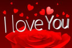 3D graphics, Valentine's Day, 14th February, hearts, I love you... Royalty Free Stock Image
