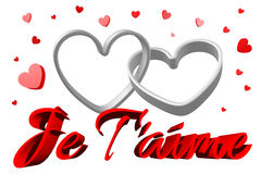 3D graphics, Valentine's Day, 14th February, hearts, Je T'aime Royalty Free Stock Photos