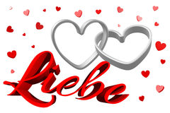 3D graphics, Valentine's Day, 14th February, hearts, Liebe (german)... Royalty Free Stock Images