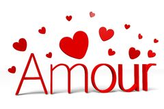 3D graphics, Valentine's Day, 14th February, hearts, Love, Amour (french) Royalty Free Stock Images