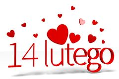 3D graphics, Valentine's Day, 14th February, hearts, 14 lutego (polish)... Royalty Free Stock Image