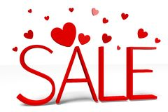3D graphics, Valentine's Day, 14th February, hearts, SALE... Royalty Free Stock Photo