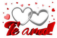 3D graphics, Valentine's Day, 14th February, hearts, Te amo!... Stock Images