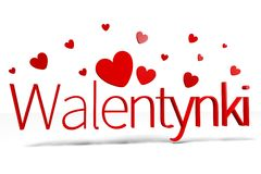 3D graphics, Valentine's Day, 14th February, hearts, Walentynki (polish) Royalty Free Stock Images
