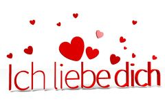 3D graphics, Valentine's Day, 14th February, ich liebe dich (german)... Royalty Free Stock Photography