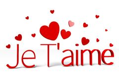 3D graphics, Valentine's Day, 14th February, je T'aime (french)... Royalty Free Stock Image