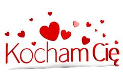 3D graphics, Valentine's Day, 14th February, kocham Cię (polish)... Royalty Free Stock Photos