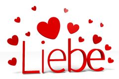 3D graphics, Valentine's Day, 14th February, Liebe (german / Deutsch) Royalty Free Stock Photos