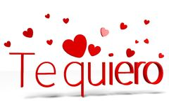 3D graphics, Valentine's Day, 14th February, Te quiero (spanish)... Royalty Free Stock Photo