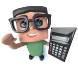 3d Grappig beeldverhaal nerd geek karakter die een calculator houden Royalty-vrije Stock Foto's