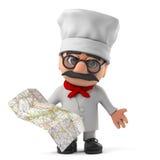 3d Grappig de chef-kokkarakter die van de beeldverhaal Italiaans pizza een kaart lezen Stock Afbeeldingen