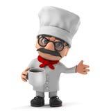 3d Grappig de chef-kokkarakter die van de beeldverhaal Italiaans pizza een kop van koffie drinken Royalty-vrije Stock Afbeeldingen