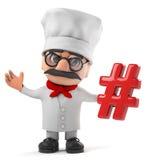3d Grappig de chef-kokkarakter die van de beeldverhaal Italiaans pizza een symbool van de knoeiboelmarkering houden Stock Foto