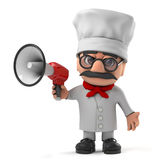 3d Grappig de chef-kokkarakter van de beeldverhaal Italiaans pizza met een megafoon Stock Fotografie