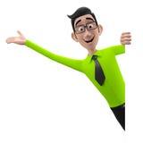 3d grappig karakter, beeldverhaal het sympathieke kijken bedrijfsmens Stock Foto's