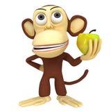 3d grappige aap met gele appel Stock Afbeelding