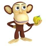 3d grappige aap met gele appel Stock Foto's