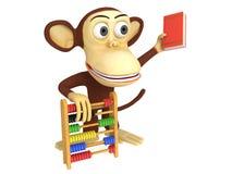 3d grappige aap met telraam en boek Stock Fotografie