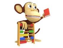 3d grappige aap met telraam en boek Stock Foto