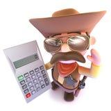 3d Grappige beeldverhaalcowboy die een digitale calculator houden Stock Afbeelding