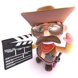 3d Grappige beeldverhaalcowboy die een film maken die een clapperboard gebruiken Stock Afbeeldingen