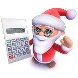 3d Grappige beeldverhaalkerstmis Santa Claus die een calculator gebruiken vector illustratie