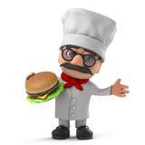 3d Grappige de chef-kokkarakter van de beeldverhaal Italiaanse pizza eet een rundvleeshamburger Stock Foto