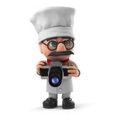 3d Grappige de chef-kokkarakter van de beeldverhaal Italiaanse pizza neemt een foto met camera Stock Fotografie