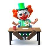 3d Grappige het karakterzitting van de beeldverhaal gekke clown en het golven bij zijn bureau Stock Foto
