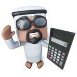 3d Grappige karakter die van de beeldverhaal Arabische sjeik een calculator houden Royalty-vrije Stock Foto
