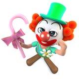 3d Grappige karakter die van de beeldverhaal gekke clown een stok van suikergoed houden Royalty-vrije Stock Afbeelding
