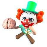 3d Grappige karakter die van de beeldverhaal gekke clown menselijke hersenen houden Stock Afbeelding