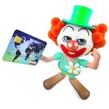 3d Grappige karakter die van de beeldverhaal gekke clown met een creditcard betalen Stock Foto