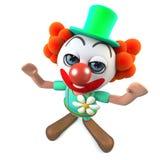 3d Grappige karakter die van de beeldverhaal gekke clown met vreugde toejuichen Royalty-vrije Stock Foto