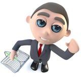 3d Grappige karakter die van de beeldverhaal uitvoerende zakenman een het winkelen mand houden Stock Foto