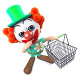 3d Grappige karakter die van de beeldverhaalclown een het winkelen mand dragen Stock Fotografie