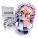 3d Grappige karakter die van de beeldverhaalrechter een calculator houden Stock Afbeelding
