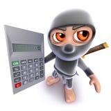 3d Grappige karakter die van de de moordenaarsstrijder van beeldverhaalninja een calculator houden Stock Fotografie
