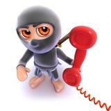 3d Grappige moordenaar die van beeldverhaalninja een telefoon beantwoorden vector illustratie