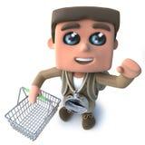3d Grappige ontdekkingsreiziger die van de beeldverhaalwandelaar een het winkelen mand houden stock illustratie